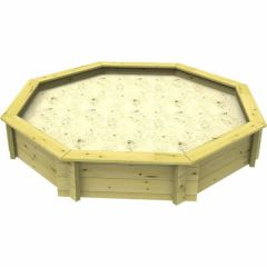Wooden Sandpit - 8ft Octagonal – 429mm Height – 44mm Thick Wall - Inc Sand and Heavy Duty Lid