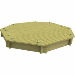 Wooden Sandpit - 10ft Octagonal – 295mm Height – 44mm Thick Wall - Inc Sand and Heavy Duty Lid