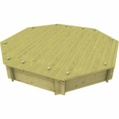 Wooden Sandpit - 10ft Octagonal – 429mm Height – 44mm Thick Wall - Inc Sand and Heavy Duty Lid