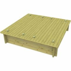 Wooden Sandpit - 2m x 2m – 429mm Height – 44mm Thick Wall - Inc Sand and Heavy Duty Lid